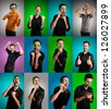 set of men with different expressions  on colorful backgrounds - stock photo