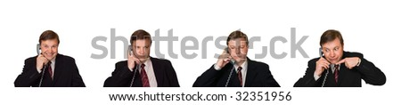 Set of men with phone isolated on white background - stock photo