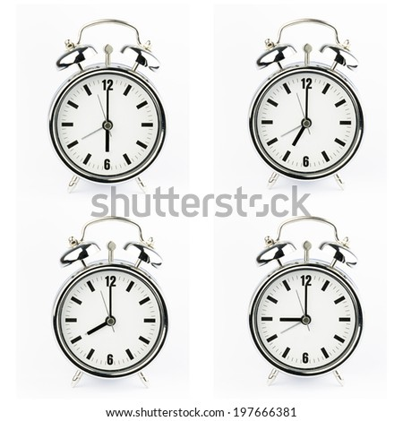 Set of Metal Alarm clock watch on white background  - stock photo