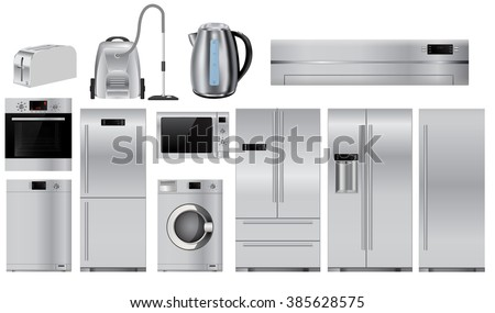 Set of metal Home appliances.   isolated on white background. Raster version - stock photo