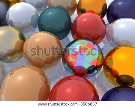 Set of metal spheres