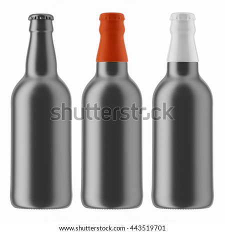 Set of metallic beer bottles with colored caps isolated on white background. 3D Mock up for your design.
