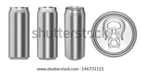 set of metallic cans isolated on white. 3d render - stock photo