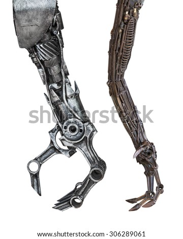 Set of metallic robot Arm made from auto parts with machinery gears bolts and nuts isolated on white background with clipping paths - stock photo