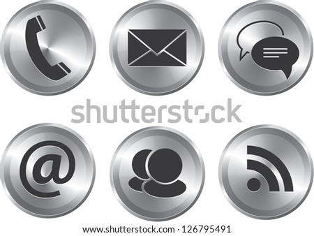 Set of metallic stylish modern communication web elements - stock photo