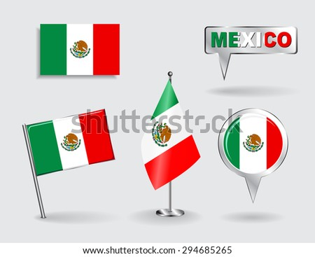 Set of Mexican pin, icon and map pointer flags. Raster version - stock photo