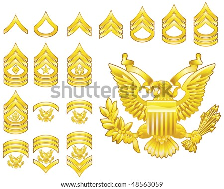 Set of military american army enlisted rank insignia icons - stock photo