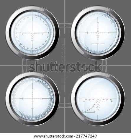 Set of military design elements - sniper scopes over grey background.  Raster illustration. - stock photo