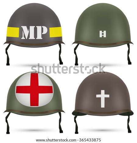 Set of Military US green helmet infantry of WWII. Insignia of medic, captain, police and chaplain.  illustration Isolated on white background.  - stock photo