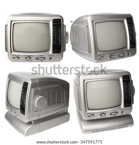 Set of mini analog television with transistor radio isolated over white background, clipping path. - stock photo
