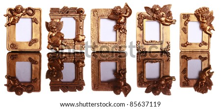 set of miniature golden angel frames isolated - Miniature Frames