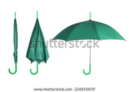 Set of mint umbrellas isolated on white background - stock photo