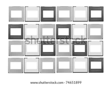 set of 35mm slides, isolated on white background,free space for your pics