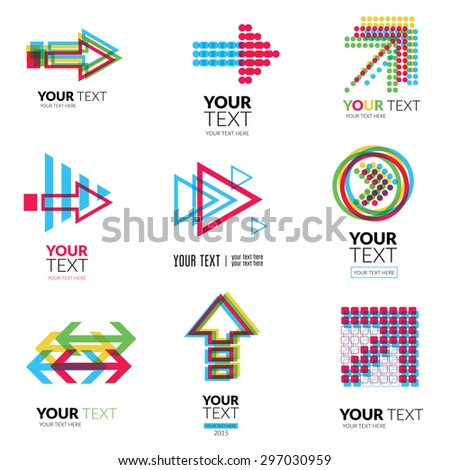 Set of modern abstract forms logos - colorful design - stock photo
