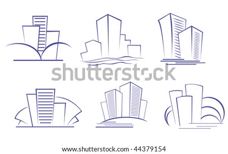 Set of modern building symbols for design or logo template. Vector version is also available - stock photo