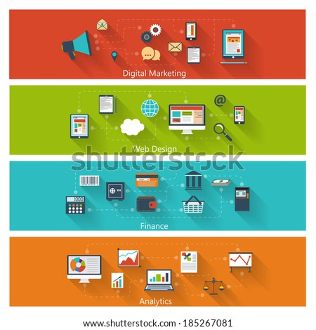 Set of modern concepts in flat design with long shadows and trendy colors for web, mobile applications, digital marketing, finance, social networks, analytics etc. Raster copy of vector illustration - stock photo