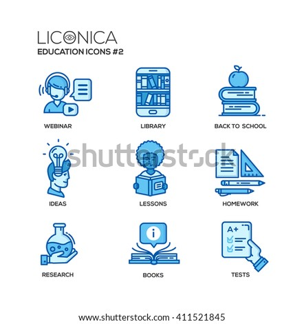 Set of modern education thin line flat design icons and pictograms. Collection of education infographics objects and web elements. Webinar, library, ideas, lessons, homework, research, books, tests - stock photo