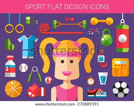 Set of modern flat design sport, fitness and healthy lifestyle icons - stock photo