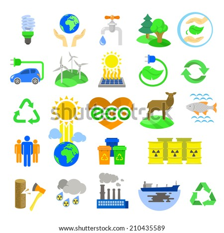 Set of modern flat icons of ecology theme, including alternative energy sources, environmental issues and also conservation of natural resources and the influence of human activity on the planet. - stock photo
