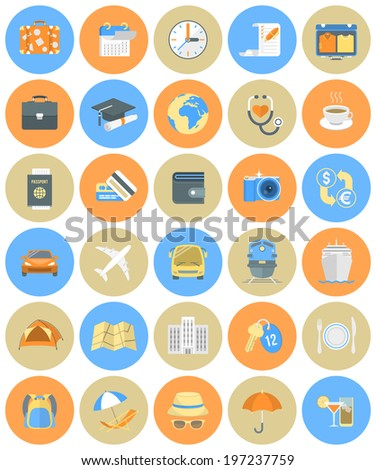Set of modern flat round traveling icons for business trips and vacation getaway by different types of transport - stock photo