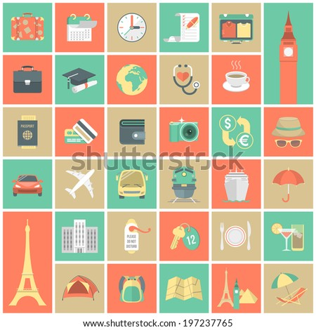 Set of modern flat square traveling icons - stock photo