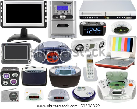 Set of modern  home  digital electronic clocks, tv, radio, DVD and CD players. Isolated on the white. Mass production.