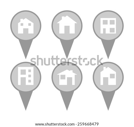 Set of modern house map pin icons in a white background. - stock photo