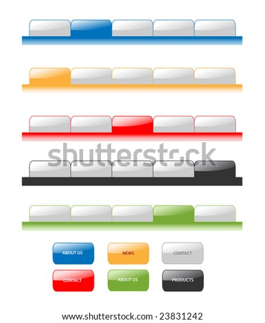 Set of modern navigation tabs aqua style web 2.0. Different colors, sample menu. - stock photo