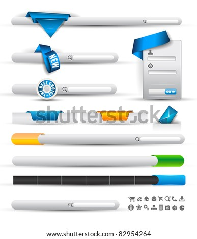 Set of modern original style search banners and web headers with various label tags for your text. - stock photo