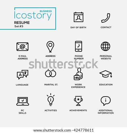 Status Icon Stock Royalty Free & Vectors #0: stock photo set of modern plain simple thin line design icons and pictograms for your resume dob contact