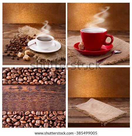 Set of modern posters with coffee backgrounds. Trendy hipster templates for flyers, banners, invitations, restaurant or cafe menu design.  Mock up.