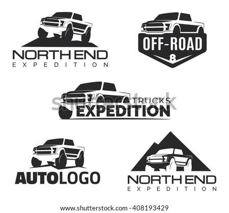 Set of modern suv pickup emblems, icons and logos. Offroad  pickup design elements, 4x4 vehicle illustration. Suv car logo template. - stock photo