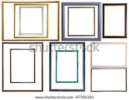 Set of  12 modern thin plastic picture frames, isolated with clipping path - stock photo