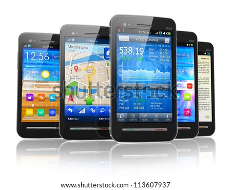 Set of modern touchscreen smartphones with applications on screens isolated on white background with reflection effect