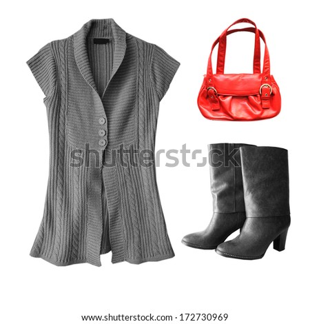 set of modern woman clothes isolated on white background - stock photo