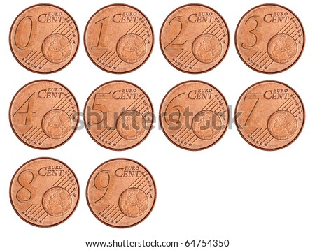 Set of modified coins of euro cents; high resolution - stock photo