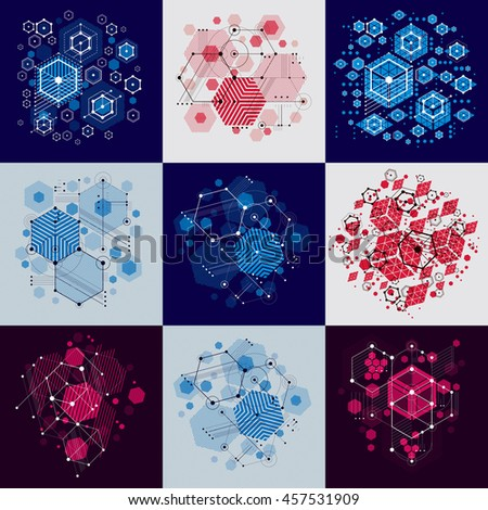 Set of modular Bauhaus backgrounds, created from simple geometric figures like circles and hexagons. Best for use as advertising poster or banner design.