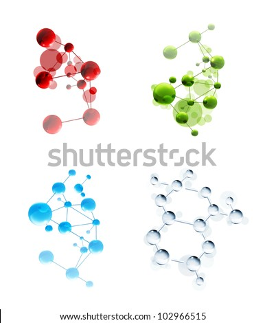 Set of molecules, bitmap copy - stock photo