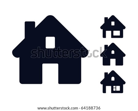 Set of monochromatic houses. Raster version of vector illustration (id: 55802002) - stock photo