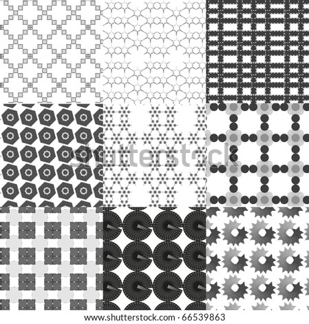 Set of monochrome geometrical patterns. Look for vector version in my portfolio. - stock photo