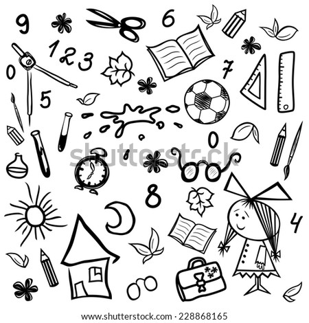 Set of monochrome sketches by children and school themes, illustration hand drawing - stock photo