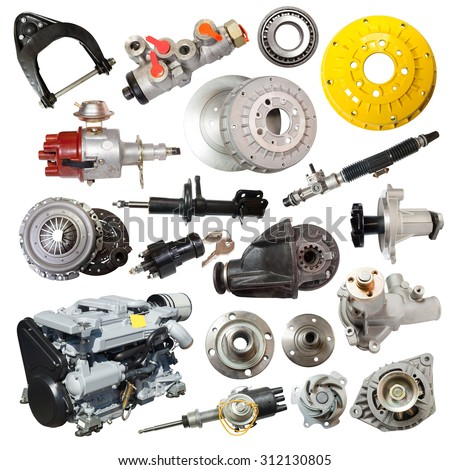 Set of motor and automotive parts. Isolated over white - stock photo