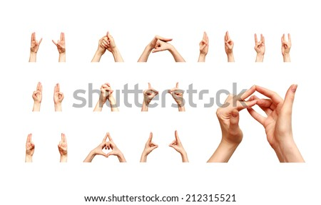 set of mudra Indian yoga women hands