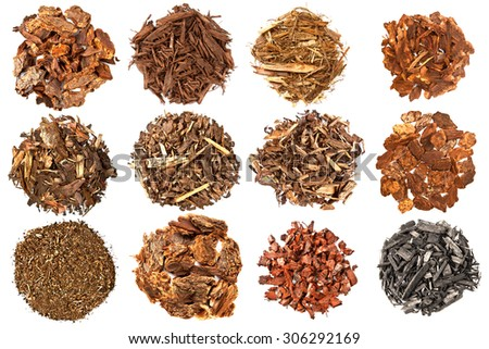 Set of mulch for gardening on white background - stock photo