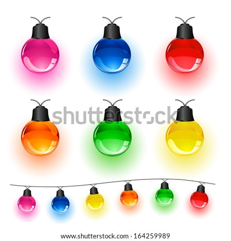 Set of multi-colored Christmas light bulbs isolated on white background, illustration. - stock photo