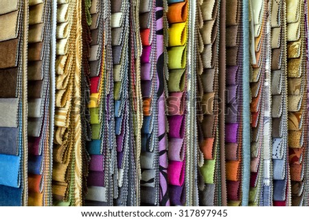 set of multi-colored upholstery samples for upholstered furniture - stock photo