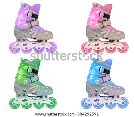 Set of 4 multicolor children's roller skates. Isolated on the white. View from side. - stock photo