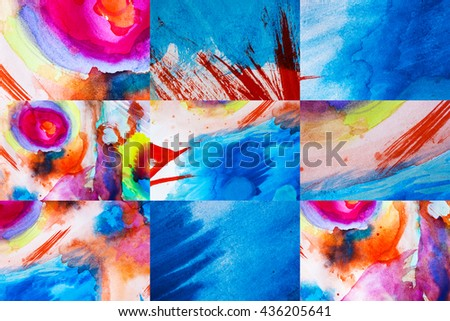 Set of multicolor hand drawn watercolor background for backgrounds or textures