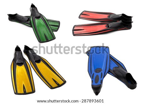 Set of multicolor swim fins for diving isolated on white background - stock photo