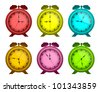 Set of multicolored alarm clocks on a white background. The isolated objects. EPS version is available as ID 98619164. - stock vector